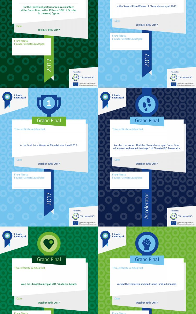 Certificaten voor de winnaars van Climate Launchpad