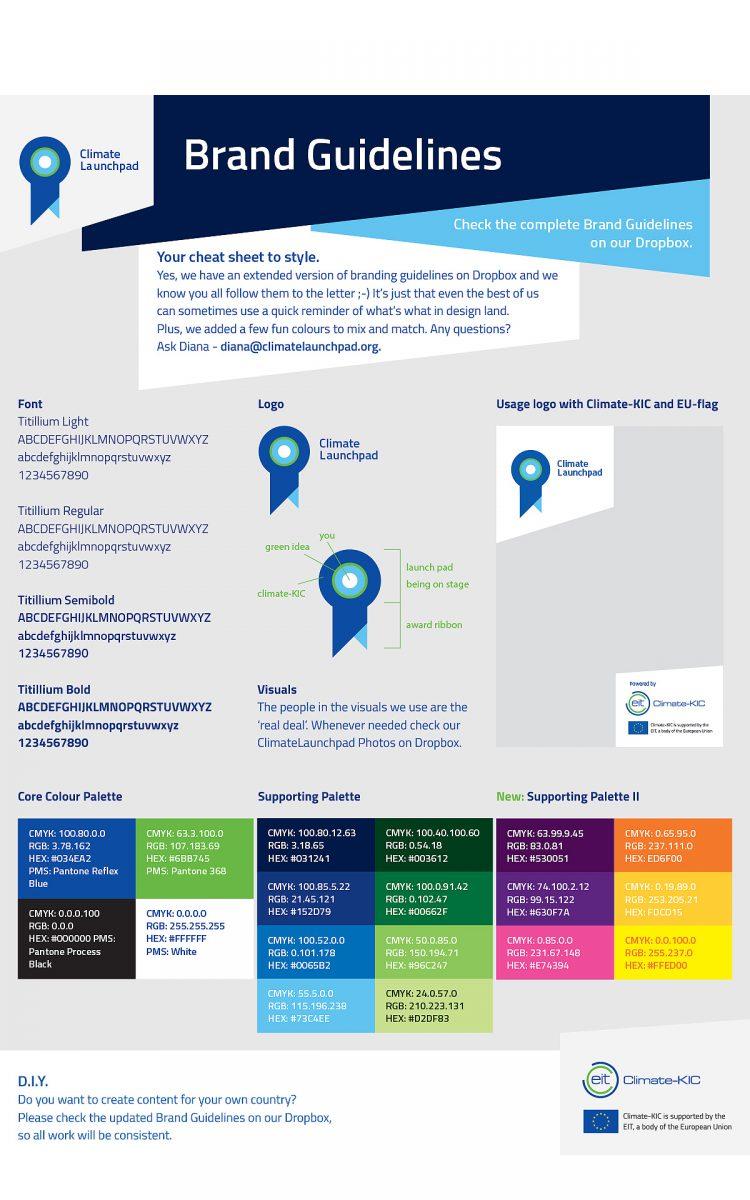 Huisstijl richtlijnen voor Climate Launchpad sustainable brand guidelines