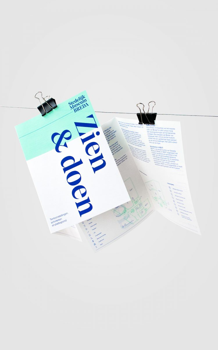 Introductie flyer en floorplan voor het Stedelijk Museum Breda frisse identiteit