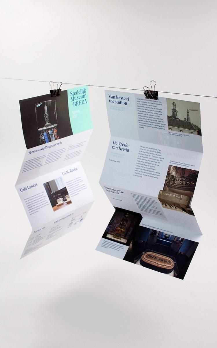 Agenda flyer voor het Stedelijk Museum Breda huisstijl campagne