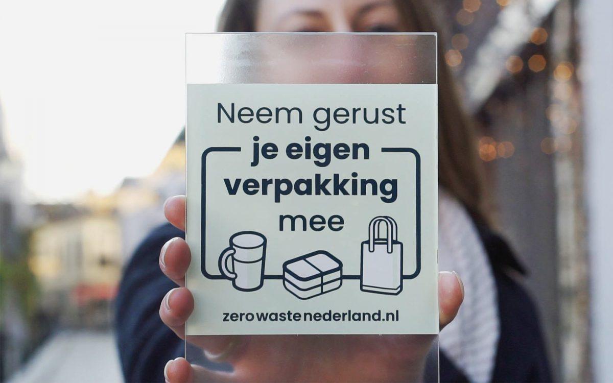 Zero Waste Nederland sticker ontwerp geen verspilling