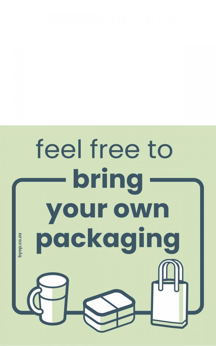 Internationale sticker Zero Waste Nederland bring your own package
