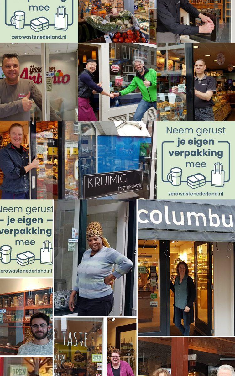 Raamstickers in gebruik van Zero Waste Nederland offline events
