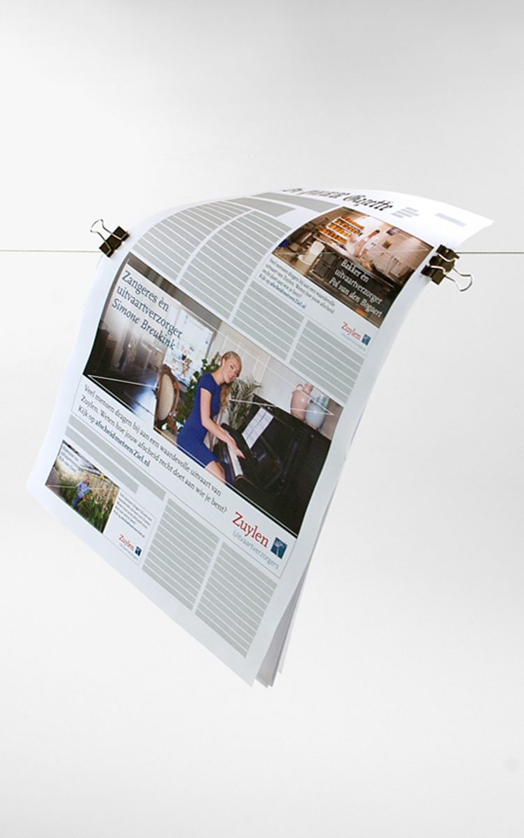 Krant advertenties voor Zuylen Uitvaartverzorger werken aan imago